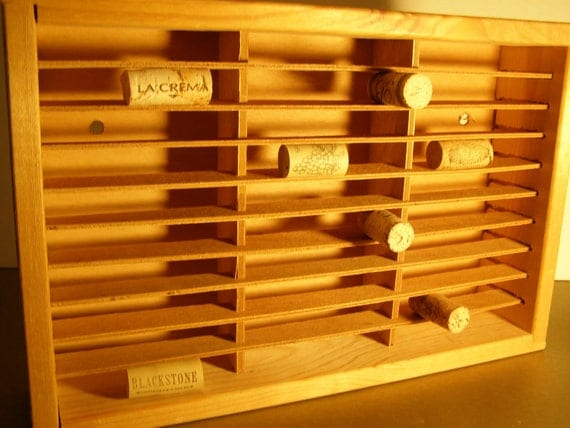 Napa Valley Natural colored Wood Box with 30 Sections. Wall Hanging or stand. Collectors Box.  Wine Room.  Wine Corks. Miniatures. Jewelry.