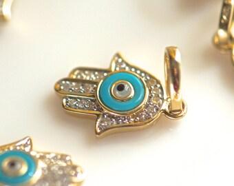 14k yellow gold 12mm 16 pieces diamonds turquoise evil eye diamond hamsa One piece only