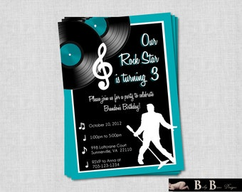 Rock & Roll Music Birthday Party Invitation- Printable