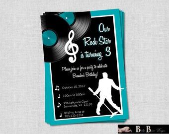 Rock & Roll Music Birthday Party Invitation- Printable