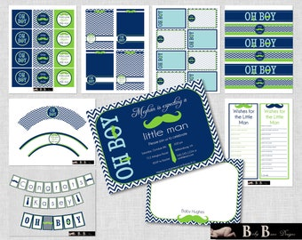 Little Man Moustache & Tie Baby Shower- Navy Blue and Green- Whole Party Pack- Printable