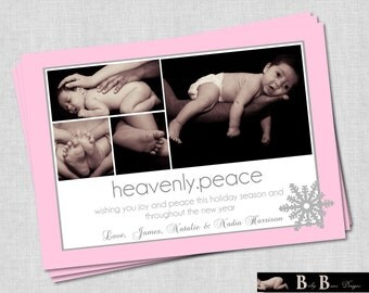 4 photo/Picture Heavenly Peace  Christmas Card (Gray and Pink)- Printable