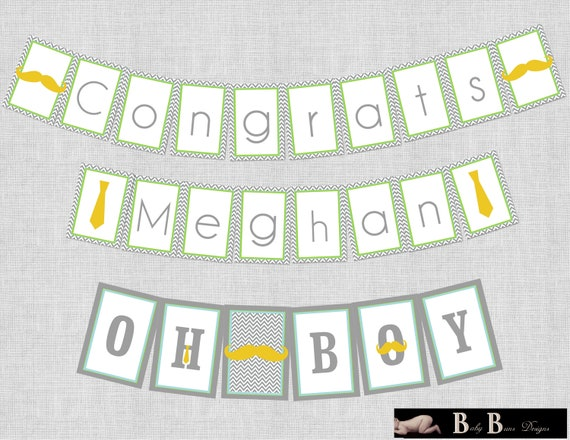 Little Man Moustache & Tie Baby Shower Congrats Banner (Gray)- Printable or Shipped