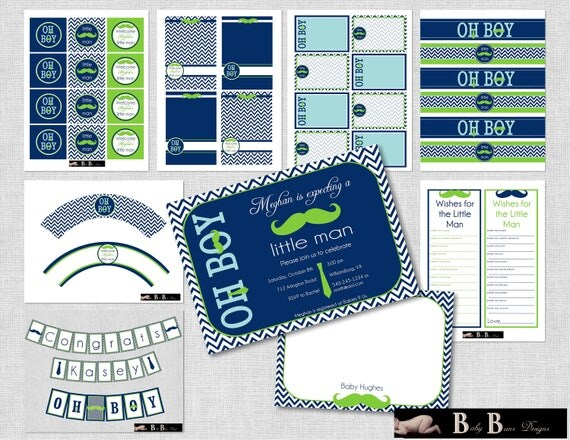 Little Man Moustache & Tie Baby Shower- Navy Blue and Green- Whole Party Pack