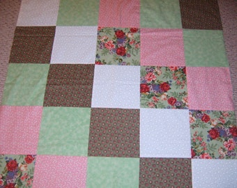 Patchwork Throw,  Hand Made, Shabby Chic,  Table Cloth, Roses