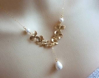 White Teardrop Pearl Double Sets of Golden Triple Orchids in 14k Gold Filled Chain Necklace
