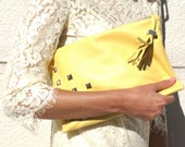 SALE (30% OFF) Yellow Studded Leather Clutch