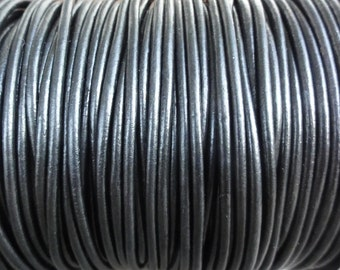 2mm Metallic Gunmetal Leather Cord - Metallic Black - 10 Yard Increments