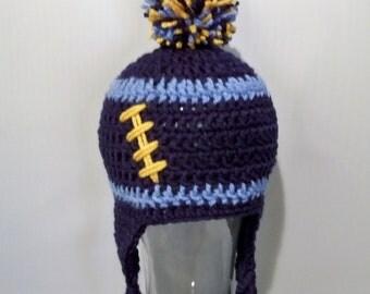 Crocheted baby football beanie   Any Team any size, any color