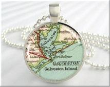 Galveston Map Pendant Island Charm Galveston Texas Travel Necklace Picture Pendant (439RS)