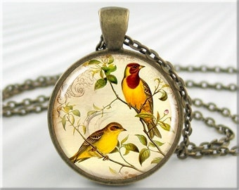 Yellow Bird Pendant Art Pendant Charm Bird Jewelry Bird Necklace Goldfinch Jewelry Resin Pendant (015RB)