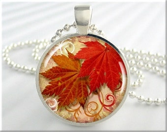 Leaf Art Pendant, Autumn Necklace, Red Leaves Jewelry, Fall Colors Accessory, Resin Picture Charm, Round Silver, Fall Season Charm (014RS)