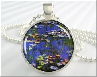 Monet Art Pendant Necklace Vintage Spring Jewelry Claude Monet Water Lillies Resin Jewellery (163RS)