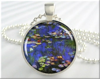 Monet Art Pendant, Vintage Art Necklace, Claude Monet Water Lillies Pendant, Resin Art Charm, Monet Art Necklace, Round Silver (163RS)
