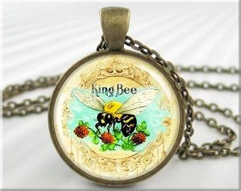 Honey Bee Pendant, Cigar Box Ad, Art Pendant, Honey Bee Necklace, Round Bronze Pendant, Gift Under 20 (166RB)