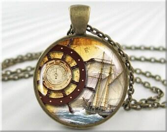 Nautical Ship Pendant, Picture Pendant, Ships Wheel Jewelry, Sailing Art Charm, Nautical Collage Art, Round Bronze Art Pendant (059RB)