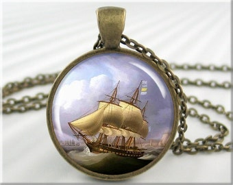 Ship Art Pendant, Resin Picture Charm, Nautical Jewelry, Sailing Necklace, Nautical Gift, Sailing Ship Art, Gift Under 20 (056RB)