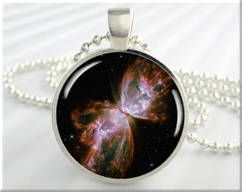 Butterfly Nebula Necklace, Picture Pendant, The Butterfly Nebula, Resin Pendant, Space Geek Gift, Round Silver, Gift Under 20 (342RS)