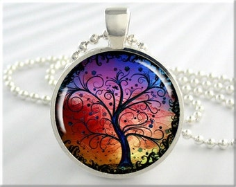 Tree Of Life Pendant, Rainbow Tree Art Necklace, Art Pendant, Resin Jewelry, Round Silver, Gift Under 20, Spiritual Gift (376RS)