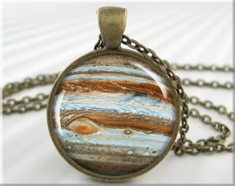 Jupiter Pendant Necklace, Planet Jupiter Resin Charm, Jupiter Space Jewelry, Space Gift, Resin Pendant, Round Bronze Pendant (382RB)