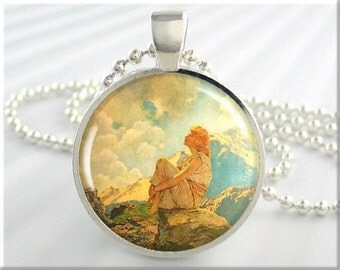 Parrish Morning Pendant, Maxfield Parrish Morning, Vintage Art Pendant, Parrish Necklace, Round Silver Resin Pendant, Gift Under 20 (432RS)