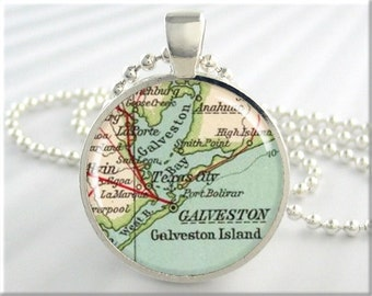 Galveston Map Pendant Island Charm Galveston Texas Travel Necklace Picture Jewelry (439RS)
