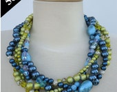 RESERVED FOR KEDROS - Statement Necklace - Agua - Handmade Bold Chunky Yellow and Blue Multi-Strand Beaded and Braided Necklace