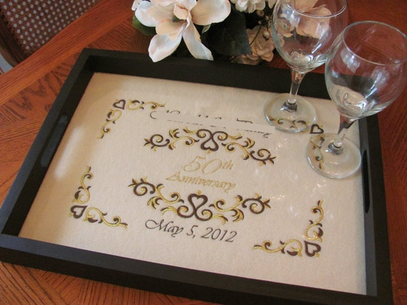 Golden Wedding Gifts Ideas: 50th Anniversary Gift Personalized Serving Tray Golden Wedding