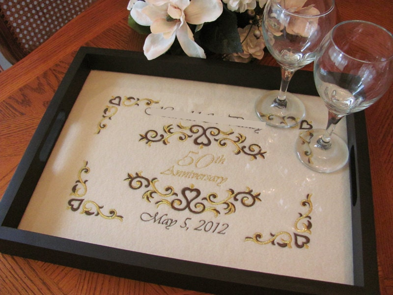 50th Wedding Anniversary Gift Ideas Gold: 50th Anniversary Gift Personalized Serving Tray Golden Wedding