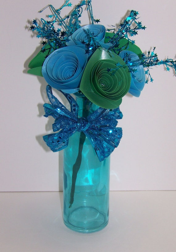 Paper Rose Flower Arrangement in Blue and Green