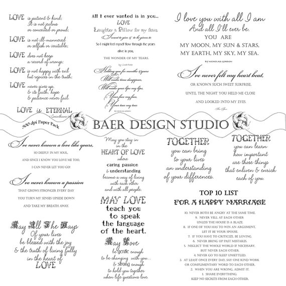 Love Quotes, Love Word Art, Digital Word Art for Weddings, Printable Wedding Poetry, Poetry for Bridal Showers, Relationship Quotes, #16100