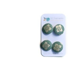 Fabric Covered Buttons - Set of 4 - Etchings Teal and Pearl Floral