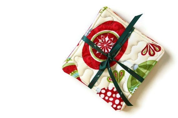 Fabric Christmas Coasters - Red, White and Green Christmas Coasters - Set of 4