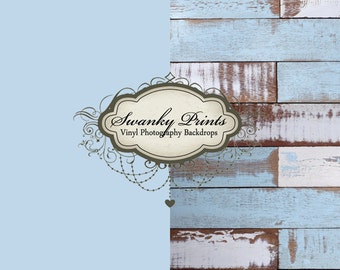 COMBO 5ft x 5ft Vinyl Photography Backdrops / Blue White Painted Scuffed Wood and Solid Soft Blue