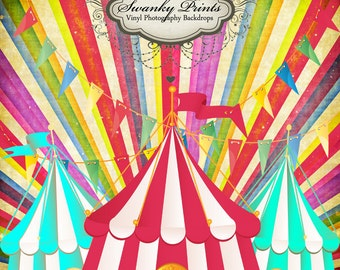NEW ITEM 4ft x 4ft Vintage Circus ----- Vinyl Photography Backdrop / Bright Colored Circus / Rainbow