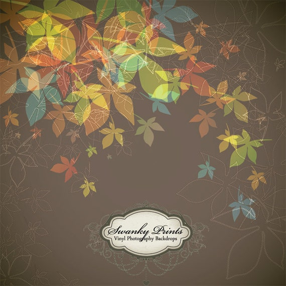 NEW ITEM 5ft x 5ft Vinyl Photography Backdrop / Custom Photography Prop / Falling Leaves Painting