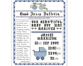 cross stitch pattern birth announcement newspaper style name sampler with poem, personalized