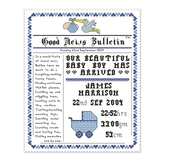 cross stitch pattern birth announcement newspaper style name – Baby Announcements Poems