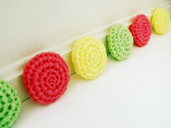 Pretty in Pink Lemonade: Set of Three Crochet Nylon Netting Eco-Friendly Reusable Kitchen Dish Scrubbies in Pink, Lime, and Yellow