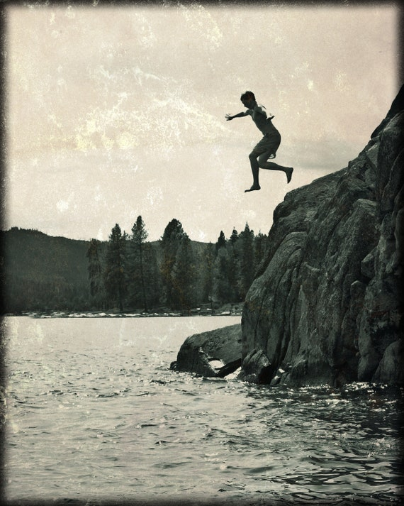 Leap of Faith, Summer, Jumping, Cliff Diving, 8 x 10 Photography