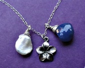 Plumeria flower necklace, STERLING SILVER, blue Chalcedony briolette, charm necklace, white Keshi pearl, botanical