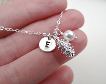 Personalized pine cone necklace, sterling silver, fall, winter jewelry, Christmas gift, holidays, winter wedding, bridesmaid, bridal favor