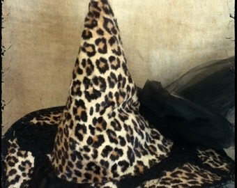 Calico Cat Leopard Tip WITCH HAT by PaTcHed PLANET