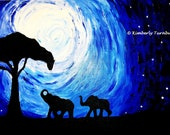 Elephants Under Moonlight, Silhouettes (Original Acrylic on Canvas) - Kim.T 11