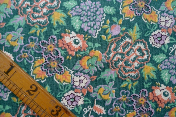 Vintage Floral Fabric, Cotton Fabric Piece, Sewing Supplies