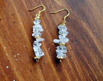 Crystal Quartz and Gold Long Earrings