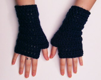 Navy Blue Fingerless Gloves Chunky Crochet Half Mittens