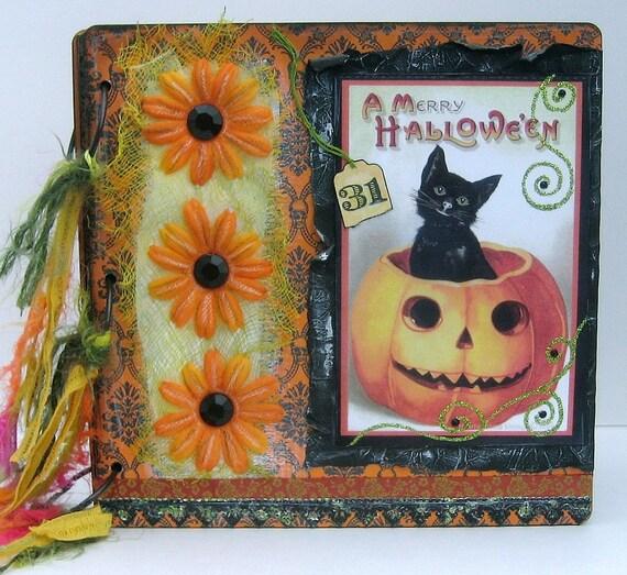 Halloween Scrapbook, Smash Book, Photo Album, Black Cat, Jack-o-Lantern