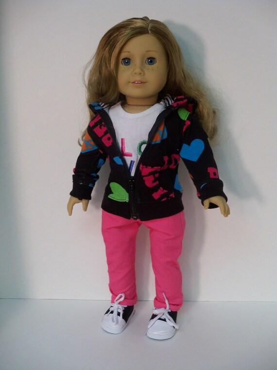 American Girl Doll Clothes Hoodie, Skinny Jeans, LOVE Tee, Sneakers