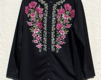 1970's polyester painted flowered blouse.